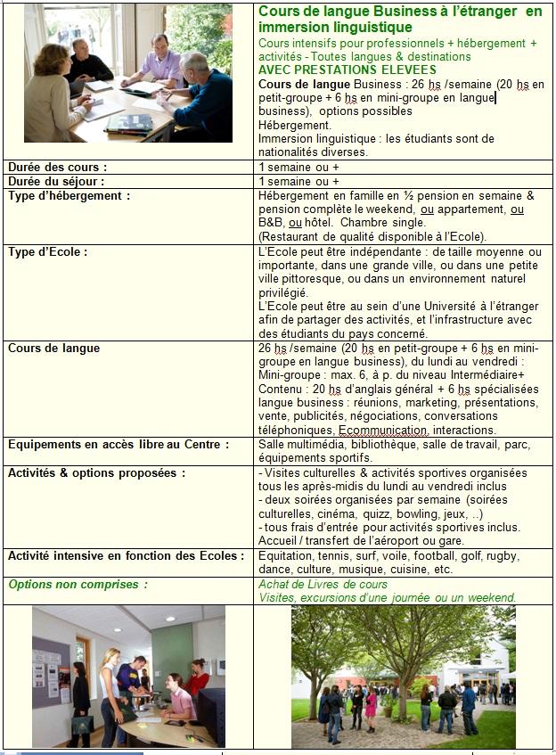 Sejours Cours de langue Business